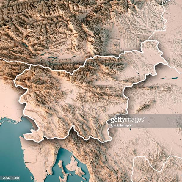 Slowenien 3D Render topographische Karte Neutral Landesgrenze