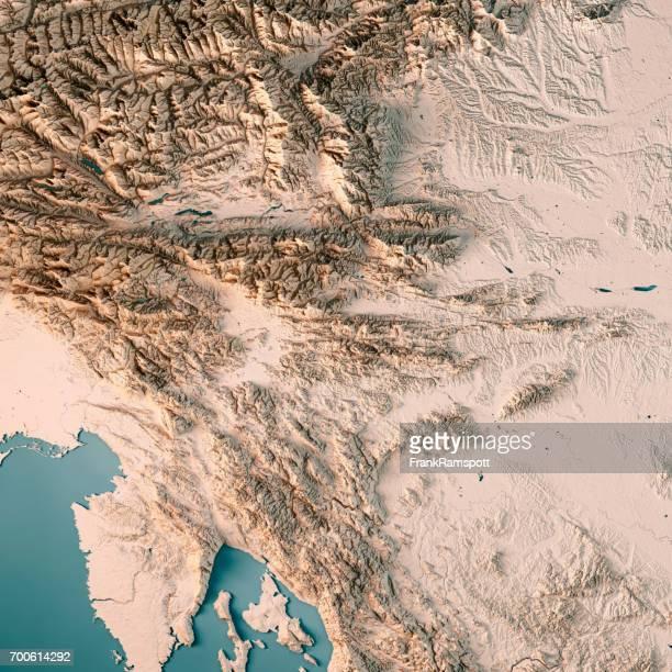 Slowenien Land 3D Render topographische Karte Neutral