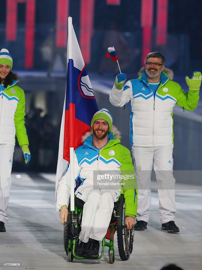 Slovenia enters the arena led by flag bearer Gal Jakic during the Opening Ceremony of the Sochi 2014 Paralympic Winter Games at Fisht Stadium on March 7, 2014 in Sochi, Russia.