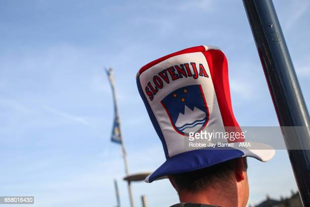 Slovenia fan wearing a Slovenia hat prior to the FIFA 2018 World Cup Qualifier between Scotland and Slovenia at Hampden Park on March 26 2017 in...