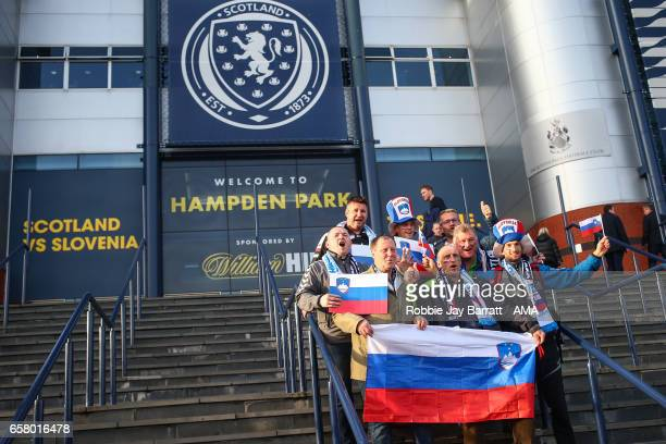 Slovenia fans outside prior to the FIFA 2018 World Cup Qualifier between Scotland and Slovenia at Hampden Park on March 26 2017 in Glasgow Scotland