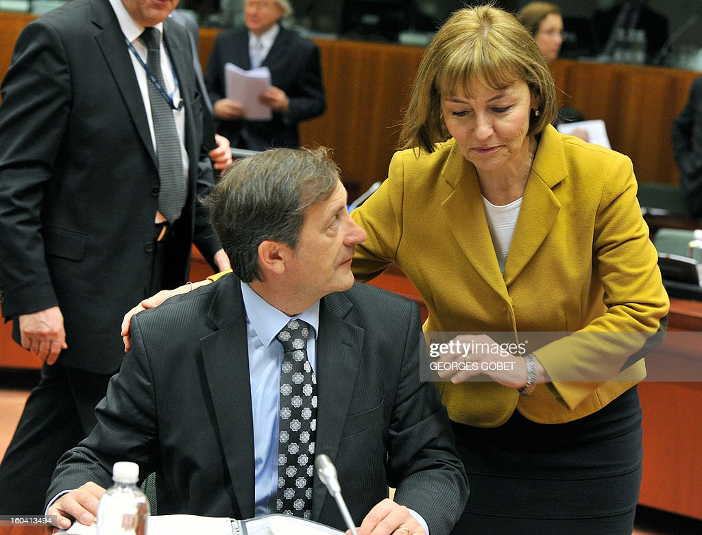 Slovenia Foreign Affairs minister Karl Erjavec and Croatia Foreign Affairs Minister Vesna Pusic (LtR) talk prior to a Foreign Affairs Council on January 31, 2013 at the EU Headquarters in Brussels. The Council will discuss the situation in the EU's southern neighbourhood, in particular in Syria and Egypt, and will prepare the forthcoming European Council debate on the Arab Spring. Ministers will also discuss the priorities of the foreign policy of the new US administration.They will be informed of the situation in Mali and the action taken by the EU in response to the special session of the last Foreign Affairs Council devoted to Mali.