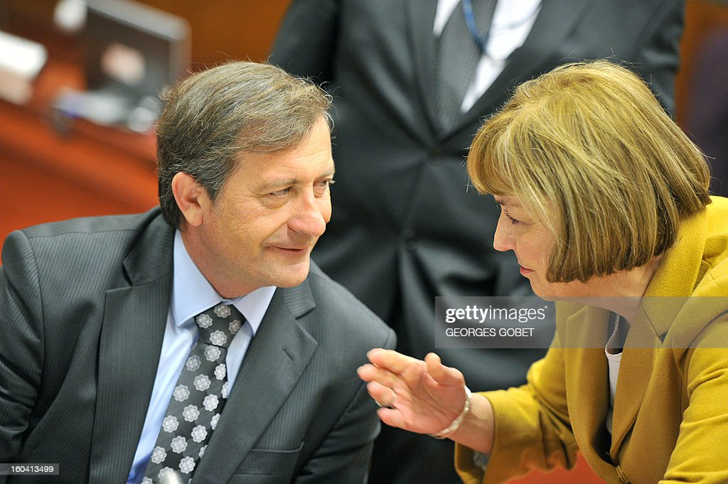 Slovenia Foreign Affairs minister Karl Erjavec and Croatia Foreign Affairs Minister Vesna Pusic (LtR) talk prior to a Foreign Affairs Council on January 31, 2013 at the EU Headquarters in Brussels. The Council will discuss the situation in the EU's southern neighbourhood, in particular in Syria and Egypt, and will prepare the forthcoming European Council debate on the Arab Spring. Ministers will also discuss the priorities of the foreign policy of the new US administration.They will be informed of the situation in Mali and the action taken by the EU in response to the special session of the last Foreign Affairs Council devoted to Mali. AFP PHOTO GEORGES GOBET