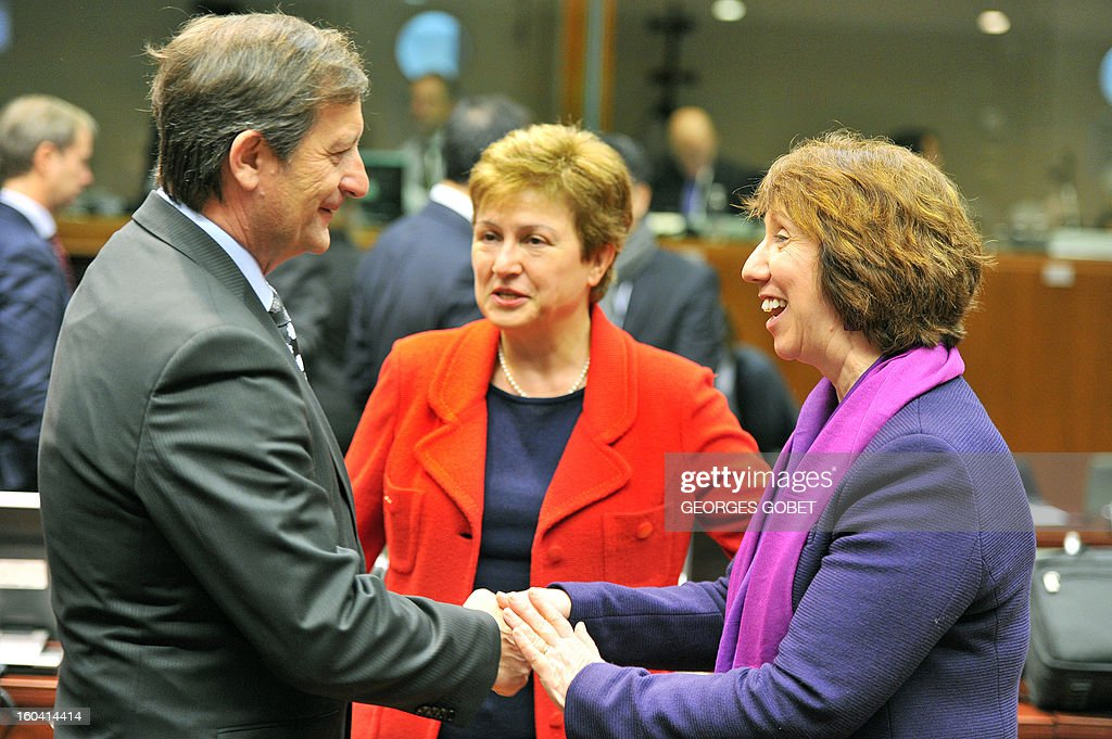 Slovenia Foreign Affairs minister Karl Erjavec and EU commissioner for International Cooperation, Humanitarian Aid and Crisis Response Kristalina Georgieva and High Representative of the European Union for Foreign Affairs and Security Policy Catherine Ashton (LtR) talk prior to a Foreign Affairs Council on January 31, 2013 at the EU Headquarters in Brussels. The Council will discuss the situation in the EU's southern neighbourhood, in particular in Syria and Egypt, and will prepare the forthcoming European Council debate on the Arab Spring. Ministers will also discuss the priorities of the foreign policy of the new US administration.They will be informed of the situation in Mali and the action taken by the EU in response to the special session of the last Foreign Affairs Council devoted to Mali.