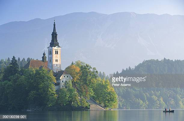 Slovenia, Gorenjska, Santa Maria Church and Lake Bled