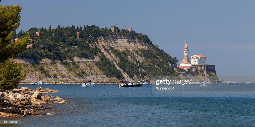 Slovenia, Istria, Adriatic coast, Strunjan, Bay, Church St. George in Piran