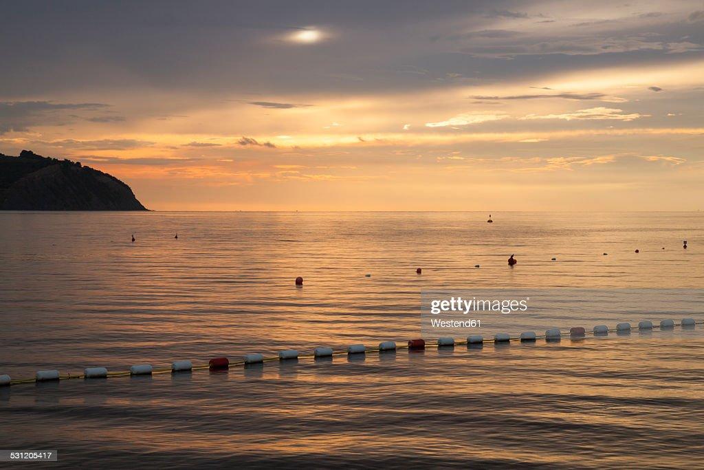 Slovenia, Istria, Slovene Littoral, Izola, Adriatic coast in the evening