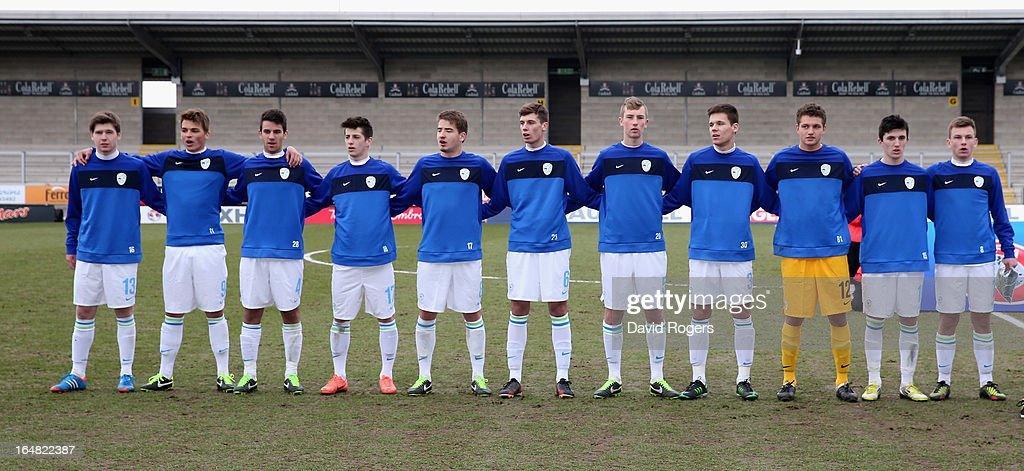 Slovenia line up during the UEFA European Under 17 Championship match between England and Slovenia at Pirelli Stadium on March 28, 2013 in Burton-upon-Trent, England.