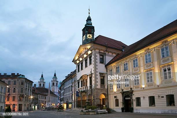 Slovenia, Ljubljana, Town hall on Mestni Square at dusk