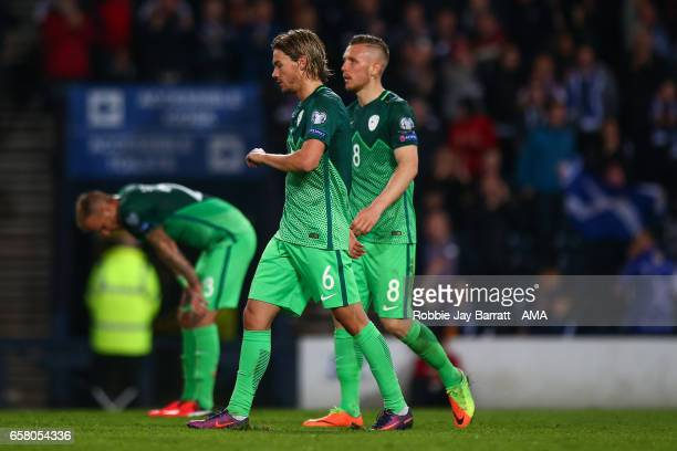 Slovenia players look dejected after conceding a goal to make it 10 during the FIFA 2018 World Cup Qualifier between Scotland and Slovenia at Hampden...