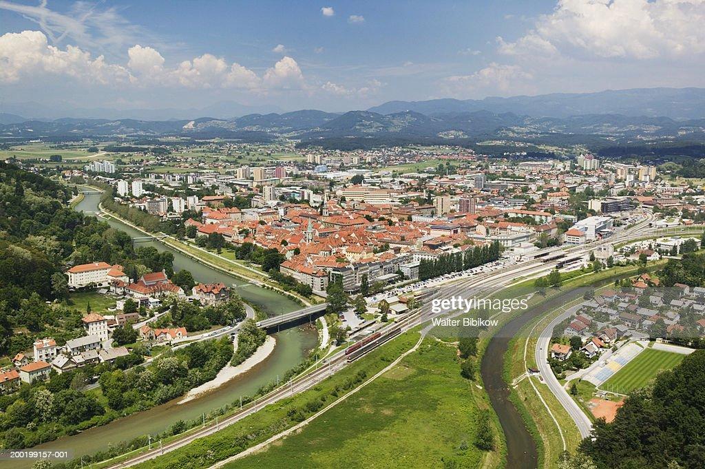 Slovenia, Styria, Celje town, elevated view