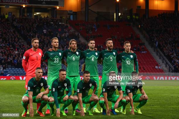 Slovenia team photo during the FIFA 2018 World Cup Qualifier between Scotland and Slovenia at Hampden Park on March 26 2017 in Glasgow Scotland