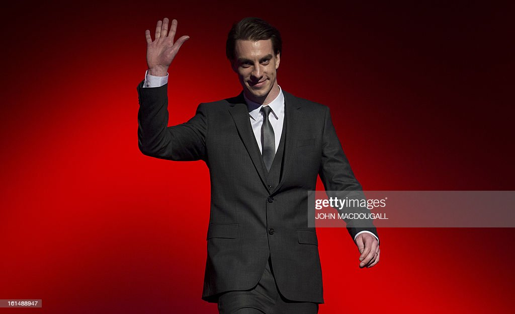 Slovenian actor Jure Henigman steps on stage to receive his Shooting Star award during the 63rd Berlinale Film Festival in Berlin February 11, 2013. The Shooting Star awards reward Europe's best young promising actors.
