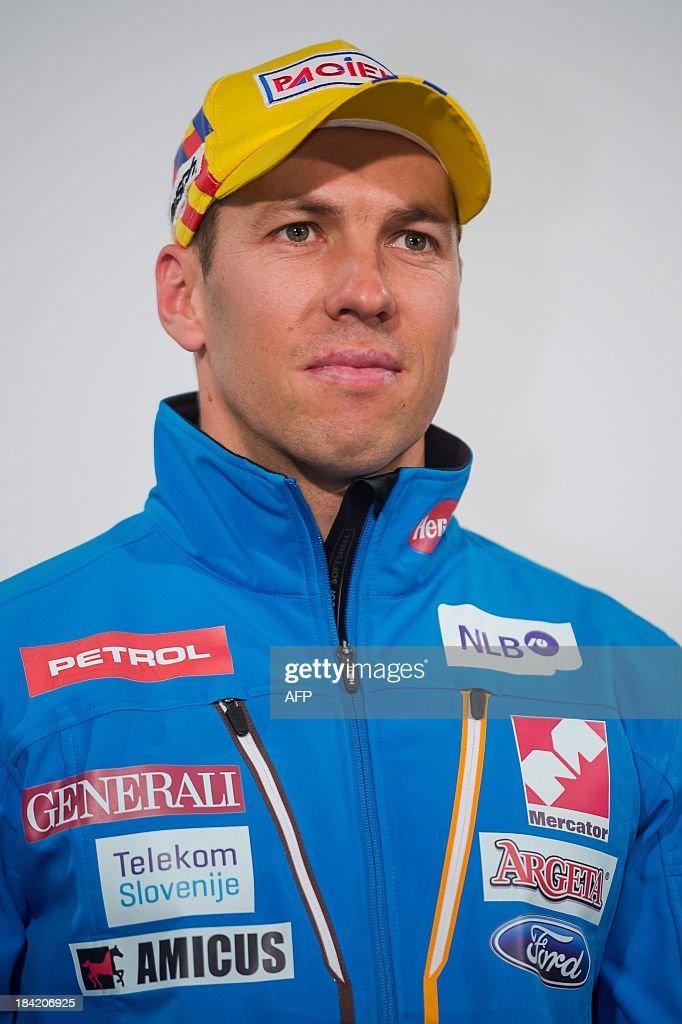 Slovenian alpine skier Mitja Valencic poses on October 10, 2013 during a presentation of Slovenia's Ski Association in Zgornji Brnik, Slovenia.