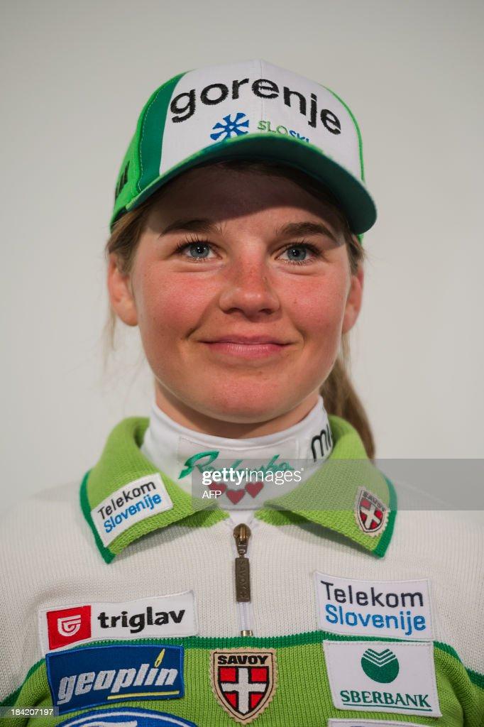 Slovenian crosscountry skier Alenka Cebasek poses on October 10, 2013 during a presentation of Slovenia's Ski Association in Zgornji Brnik, Slovenia.