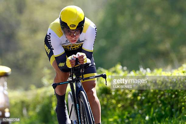 Slovenian cyclist Primoz Roglic of team LottoNL Jumbo competes during the first stage of the Giro d'Italia 2016 at Apeldoorn Netherlands on May 6 an...