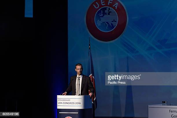 LAGONISI ATHENS ATTIKI GREECE Slovenian FA President Aleksander eferin during his speech in the 12th Extraordinary Uefa Congress in 14 of September...