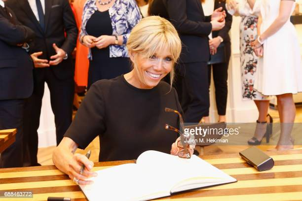 Slovenian First Lady Mrs Brigitte Macron is pictured during the visit of the partners of the heads of state and Government at Delvaux 'Le 27' on May...