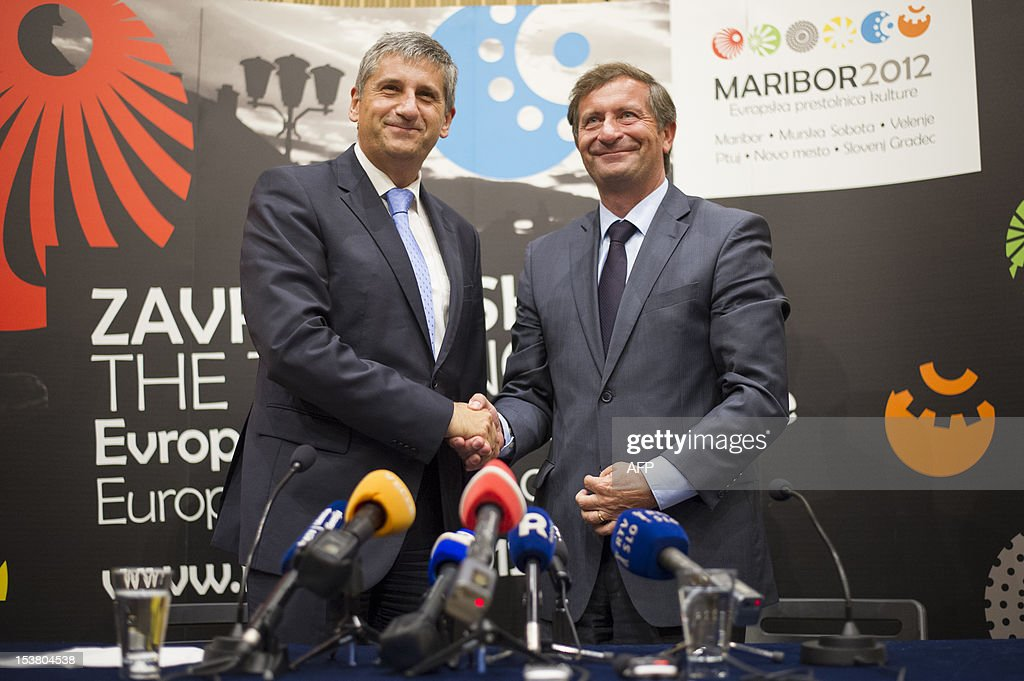 Slovenian Foreign Minister Karl Erjavec (R) and his Austrian counterpart Michael Spindelegger shake hands on October 9, 2012 after giving a press conference following their meeting in Maribor. AFP PHOTO / Jure Makovec
