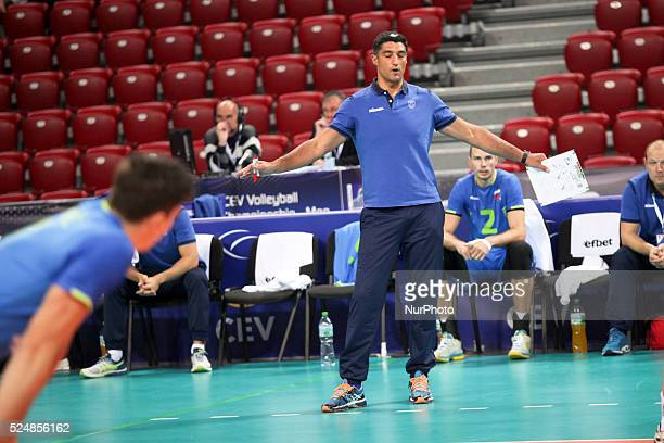 Slovenian head coach Andrea Giani during SloveniaNetherlands game on CEV European Championship in Sofia on October 13 2015