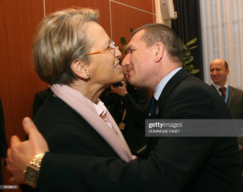 Slovenian Interior Minister Dragutin Mate welcomes his French counterpart Michele Alliot-Marie (L) before a multi-presidency meeting of Ministers of home affairs with the EU Commission, 24 January 2008, in a hotel of center Ljubljana.