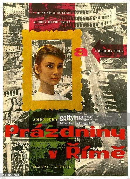 A Slovenian poster for William Wyler's 1953 comedy 'Roman Holiday' starring Audrey Hepburn and Gregory Peck