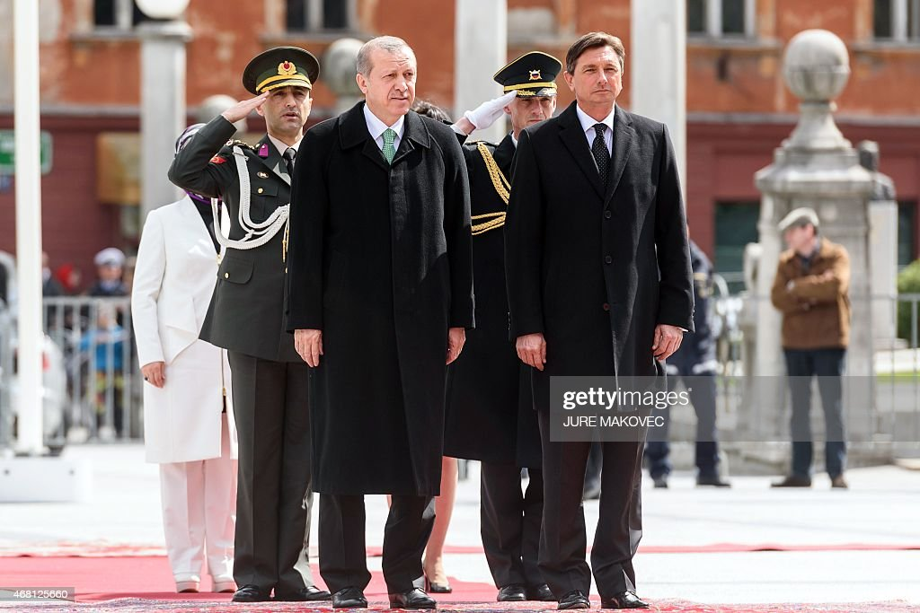 Slovenian President Boris Pahor (R) and his Turkish counterpart <a gi-track='captionPersonalityLinkClicked' href=/galleries/search?phrase=Recep+Tayyip+Erdogan&family=editorial&specificpeople=213890 ng-click='$event.stopPropagation()'>Recep Tayyip Erdogan</a> review an honour guard during their meeting in Ljubljana, Slovenia, on March 30, 2015. AFP PHOTO / JURE MAKOVEC