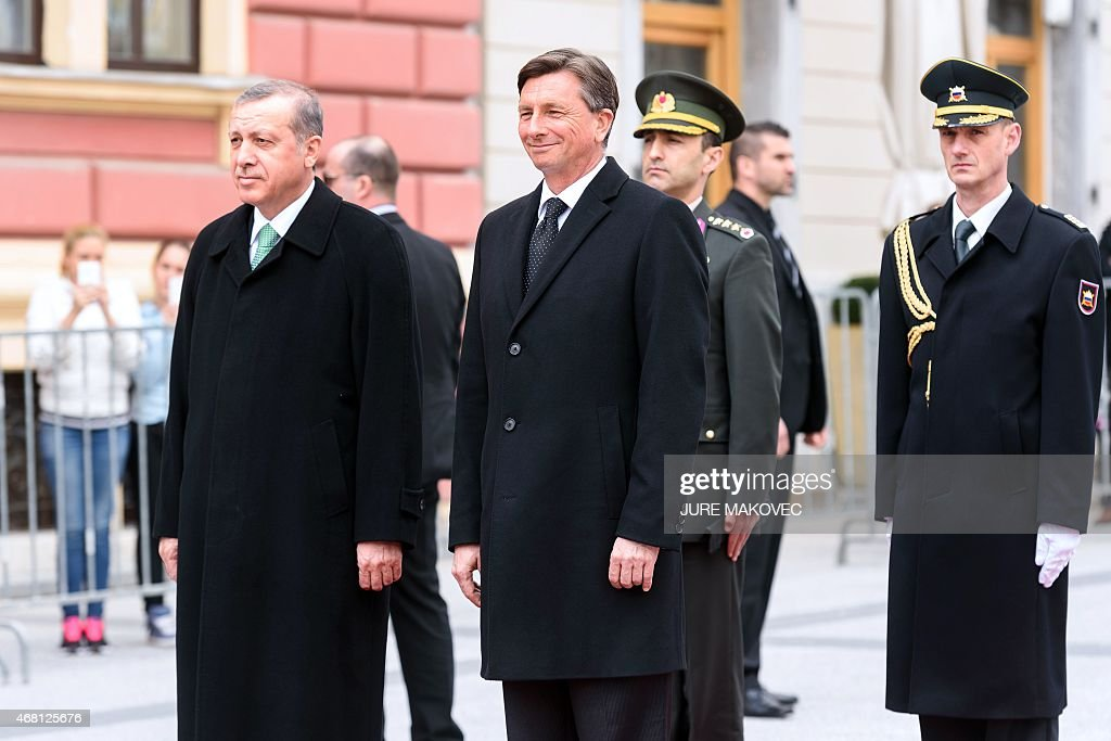 Slovenian President Boris Pahor (2nd L) and his Turkish counterpart <a gi-track='captionPersonalityLinkClicked' href=/galleries/search?phrase=Recep+Tayyip+Erdogan&family=editorial&specificpeople=213890 ng-click='$event.stopPropagation()'>Recep Tayyip Erdogan</a> (L) review an honour guard during their meeting in Ljubljana, Slovenia, on March 30, 2015. AFP PHOTO / JURE MAKOVEC