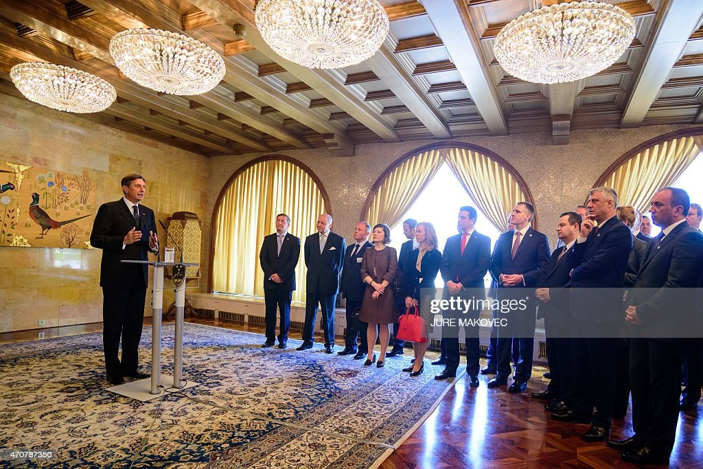 Slovenian President <a gi-track='captionPersonalityLinkClicked' href=/galleries/search?phrase=Borut+Pahor&family=editorial&specificpeople=2476171 ng-click='$event.stopPropagation()'>Borut Pahor</a> (L) addresses Foreign Ministers during a meeting on improved economic and security cooperation in the Balkans involving six Balkan countries and the EU, in Brdo Pri Kranju, on April 23, 2015.