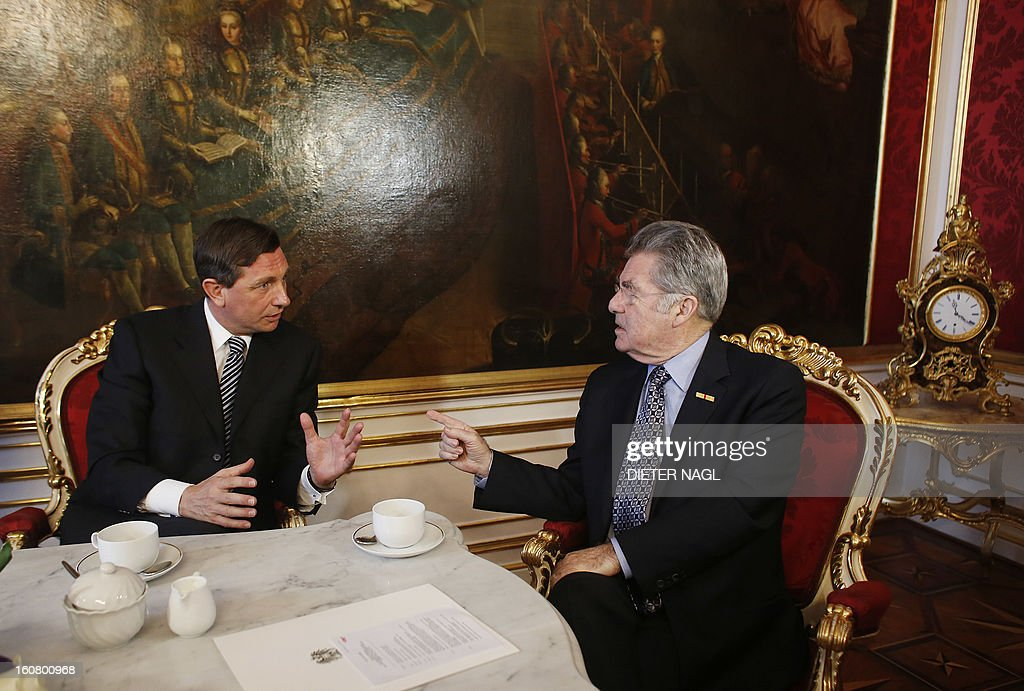Slovenian President Borut Pahor (L) and Austrian President Heinz Fischer speak during a official meeting on February 6, 2013 in Vienna.