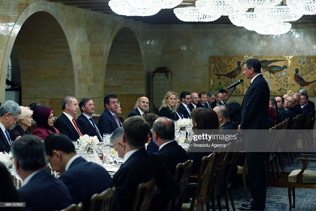 Slovenian President <a gi-track='captionPersonalityLinkClicked' href=/galleries/search?phrase=Borut+Pahor&family=editorial&specificpeople=2476171 ng-click='$event.stopPropagation()'>Borut Pahor</a> delivers a speech during a dinner that he gave in honor of Turkey's President <a gi-track='captionPersonalityLinkClicked' href=/galleries/search?phrase=Recep+Tayyip+Erdogan&family=editorial&specificpeople=213890 ng-click='$event.stopPropagation()'>Recep Tayyip Erdogan</a> in Ljubljana, Slovenia on March 30, 2015.