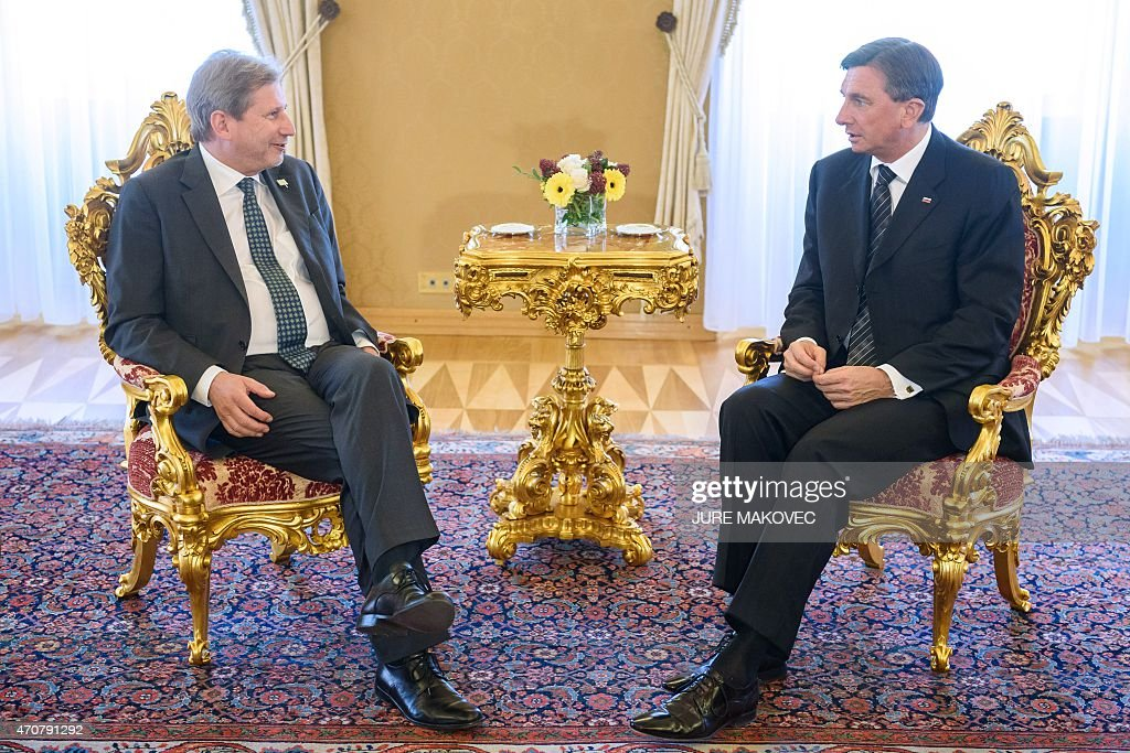Slovenian President Borut Pahor talks with European Commissioner for European Neighbourhood Policy and Enlargement Negotiations Johannes Hahn during...