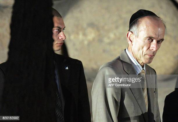 Slovenian President Dr Janez Drnovesk visits the eternal flame during his visit to the Holocaust Museum in Yad Vashem in Jerusalem 06 March 2006...