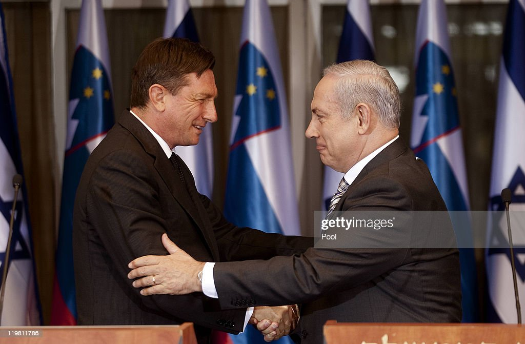 Slovenian Prime Minister Borut Pahor (L) and Israeli Prime Minister <a gi-track='captionPersonalityLinkClicked' href=/galleries/search?phrase=Benjamin+Netanyahu&family=editorial&specificpeople=118594 ng-click='$event.stopPropagation()'>Benjamin Netanyahu</a> shake hands after delivering a joint statement during a press conference following a meeting at the Prime Minister's residence on July 25, 2011 in Jerusalem, Israel. Netanyahu met with his Slovenian counterpart as both Israel and Palestine continue their efforts to lobby EU nations ahead of September's vote at the UN.