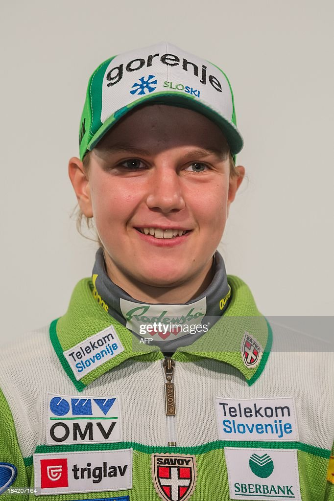 Slovenian ski jumper Ema Klinec poses on October 10, 2013 during a presentation of Slovenia's Ski Association in Zgornji Brnik, Slovenia.