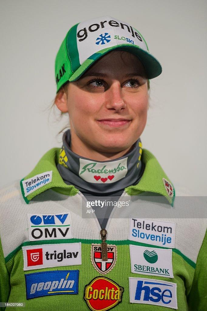 Slovenian ski jumper Eva Logar poses on October 10, 2013 during a presentation of Slovenia's Ski Association in Zgornji Brnik, Slovenia.