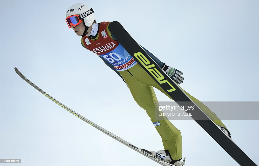 Slovenian ski jumper Jaka Hvala soars through the air during his trial jump at the 61th edition of the Four-Hills-Tournament (Vierschanzentournee) on December 31, 2012 in Garmisch-Partenkirchen, southern Germany. The second competition of the jumping event will take place in Garmisch-Partenkirchen, before the tournament continues in Innsbruck (Austria) and in Bischofshofen (Austria).
