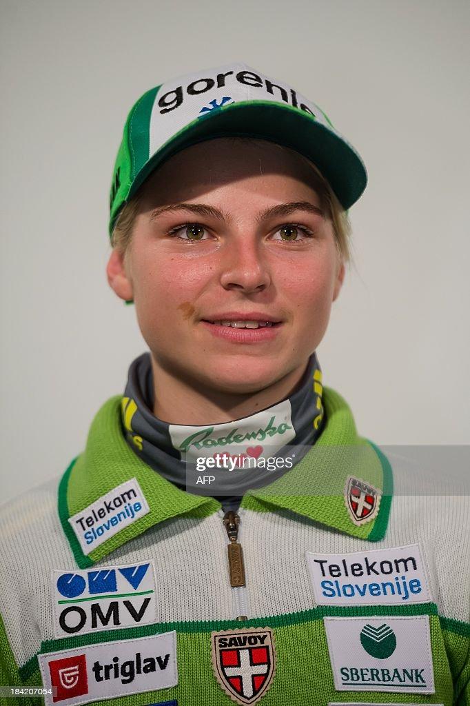 Slovenian ski jumper Spela Rogelj poses on October 10, 2013 during a presentation of Slovenia's Ski Association in Zgornji Brnik, Slovenia.