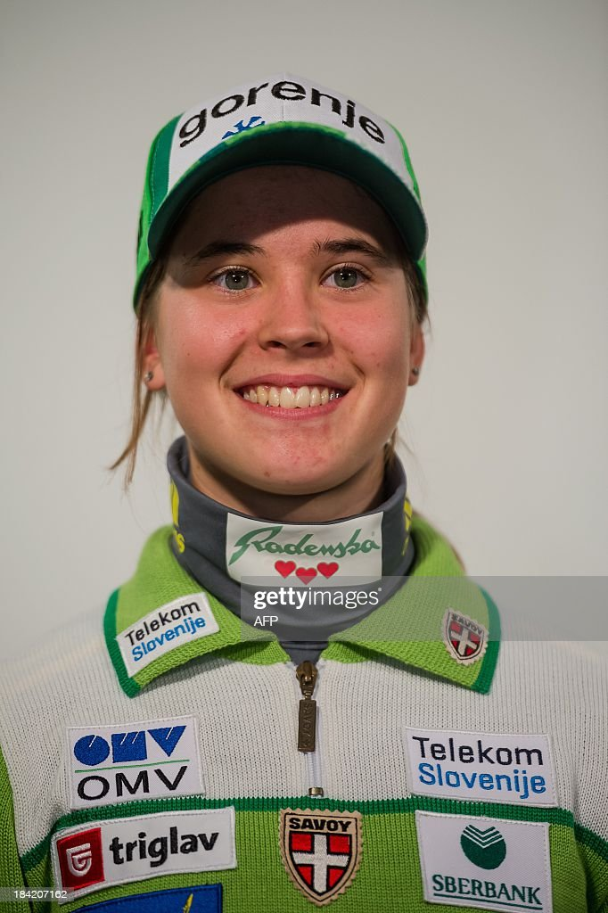 Slovenian ski jumper Ursa Bogataj poses on October 10, 2013 during a presentation of Slovenia's Ski Association in Zgornji Brnik, Slovenia.