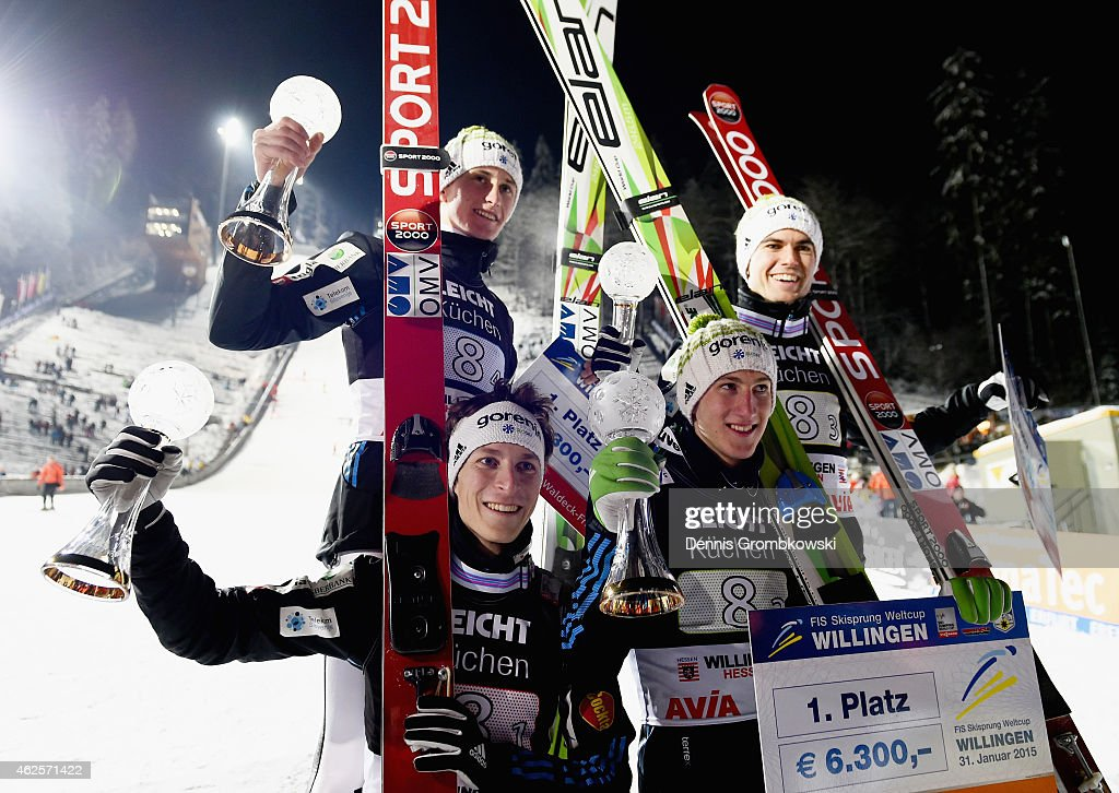 Slovenian ski jumpers <a gi-track='captionPersonalityLinkClicked' href=/galleries/search?phrase=Jurij+Tepes&family=editorial&specificpeople=4782766 ng-click='$event.stopPropagation()'>Jurij Tepes</a>, Nejc Dezman, <a gi-track='captionPersonalityLinkClicked' href=/galleries/search?phrase=Jernej+Damjan&family=editorial&specificpeople=820554 ng-click='$event.stopPropagation()'>Jernej Damjan</a> and <a gi-track='captionPersonalityLinkClicked' href=/galleries/search?phrase=Peter+Prevc&family=editorial&specificpeople=6667561 ng-click='$event.stopPropagation()'>Peter Prevc</a> pose after their victory in the Large Hill Team competition on day two of the FIS Ski Jumping World Cup on January 31, 2015 in Willingen, Germany.