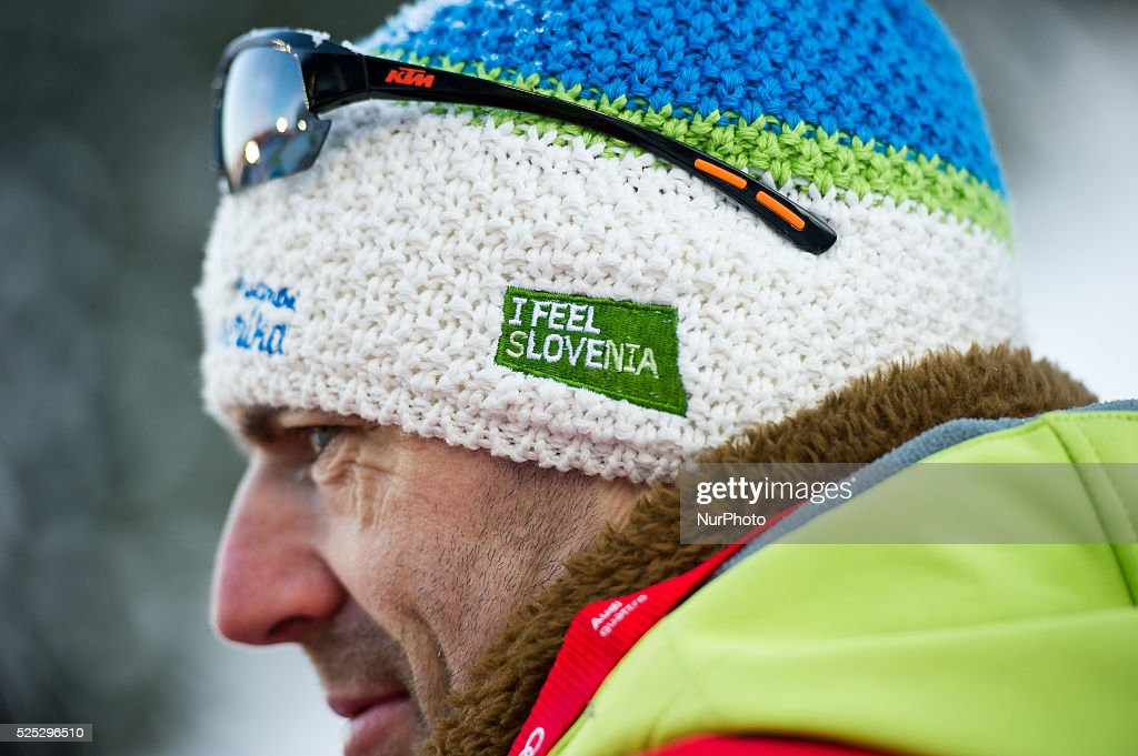 Slovenian supporter during the Large Hill Individual competition on day one of the FIS Ski Jumping World Cup on February 7 2015 in Titisee Germany