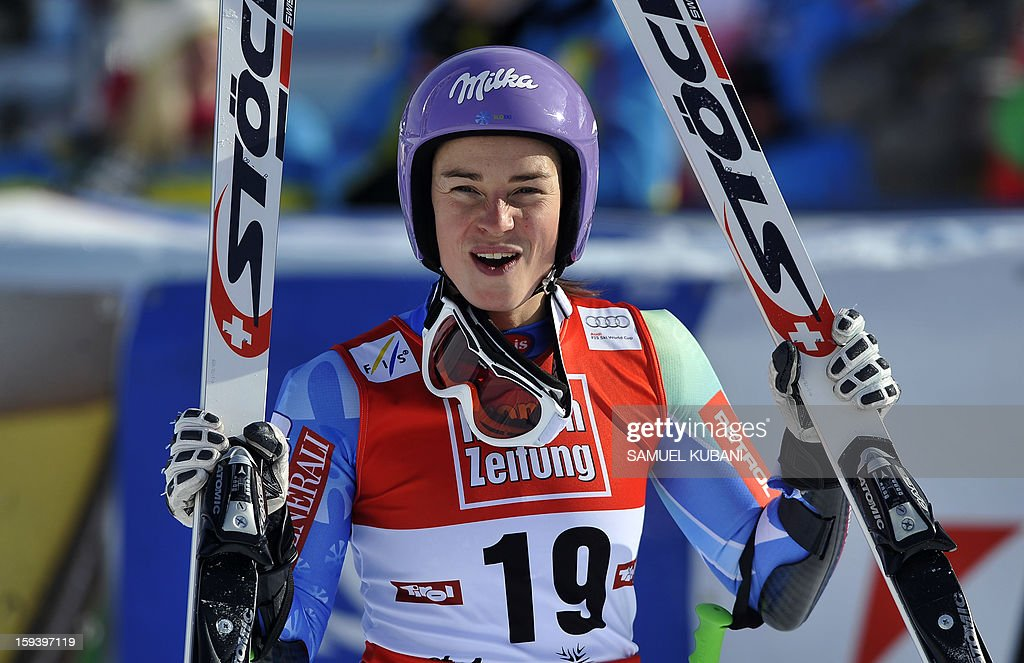 Slovenian Tina Maze reacts in finish area at the women's World Cup Super G, on January 13, 2013 in St Anton am Arlberg, Austria.