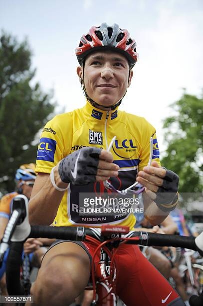Slovenian yellow jersey Janez Brajkovic is pictured on June 10 at the start of the fourth stage of the Dauphine Criterium cycling race on June 10...