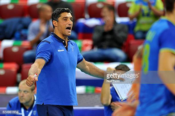 Slovenian's head coach Andrea Giani gestures during Eurovolley 2015 CEV quaterfinal match between Poland and Slovenia in Sofia Bulgaria 14 Oktober...