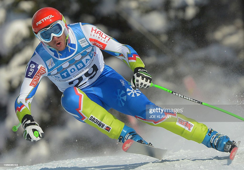 Slovenia's Andrej Jerman skis during the downhill practice for the Alpine Skiing World Cup in Lake Louise, Canada on November 22, 2012.