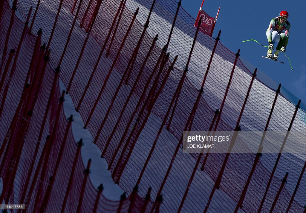 Slovenia's Andrej Sporn attends the men's downhill training of the FIS Alpine Skiing World Cup in Kitzbuehel, Austria, on January 22, 2015.