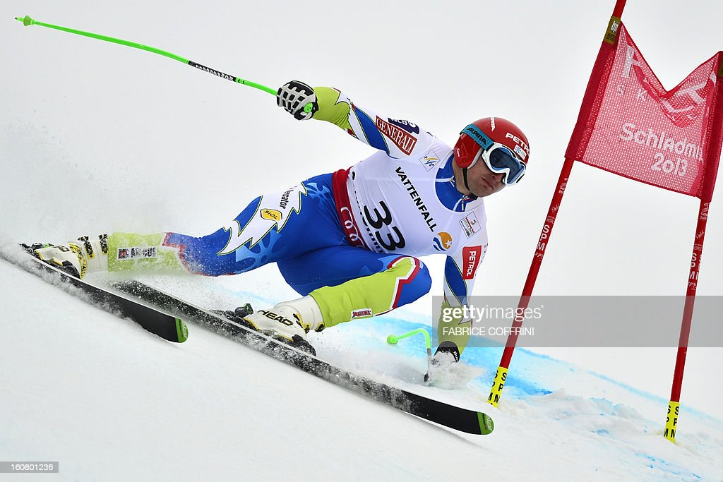 Slovenia's Andrej Sporn competes during the men's Super-G event of the 2013 Ski World Championships in Schladming, Austria on February 6, 2013.