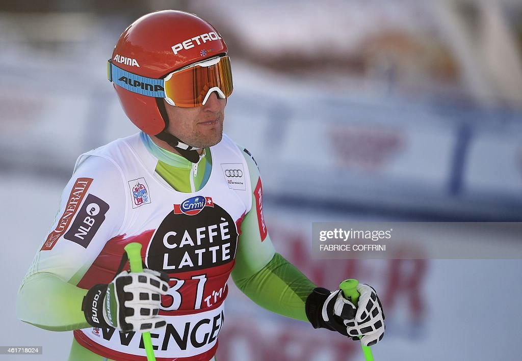 Slovenia's Andrej Sporn reacts during the FIS Alpine Ski World Cup Men's Downhill in Wengen on January 18, 2015.