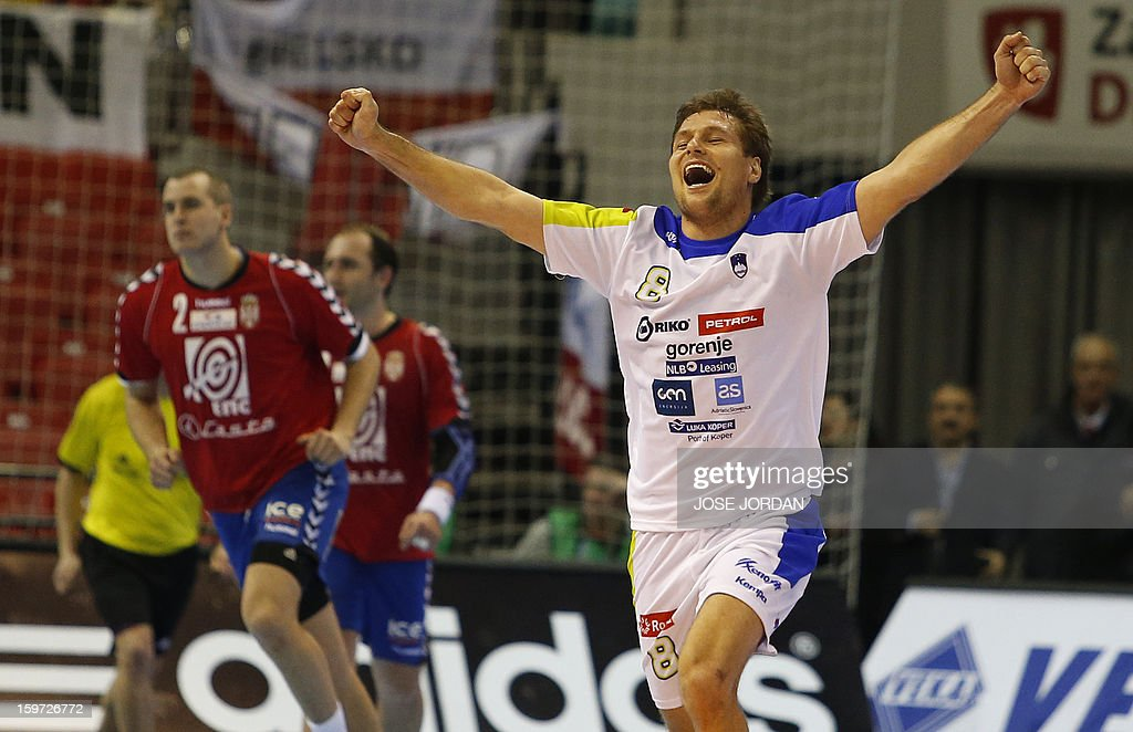Slovenia's centre back Marko Bezjak celebrates a goal during the 23rd Men's Handball World Championships preliminary round Group C match Serbia vs Slovenia at the Pabellon Principe Felipe in Zaragoza on January 19, 2013. Slovenia won 33-31.