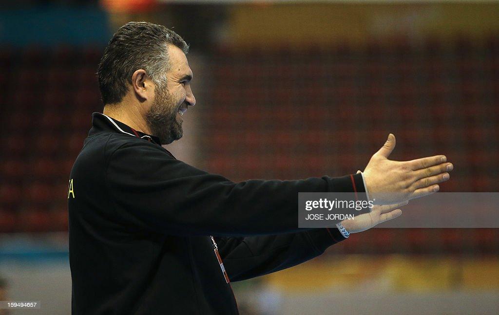 Slovenia's coach Boris Denic reacts during the 23rd Men's Handball World Championships preliminary round Group C match South Korea vs Slovenia at the Pabellon Principe Felipe in Zaragoza on January 14, 2013.